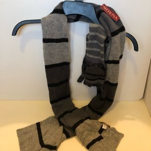 Merona Grey and Black Striped Scarf and Gloves Set
